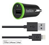 BELKIN Micro USB autonabíječka,2.4A+ Lightning,čer foto