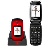EVOLVEO EasyPhone FD, mobilní telefon pro seniory s nabíjecím stojánkem (červená barva) foto