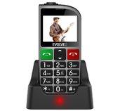 EVOLVEO EasyPhone FM, mobilní telefon pro seniory s nabíjecím stojánkem (stříbrná barva) foto