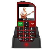EVOLVEO EasyPhone FM, mobilní telefon pro seniory s nabíjecím stojánkem (červená barva) foto